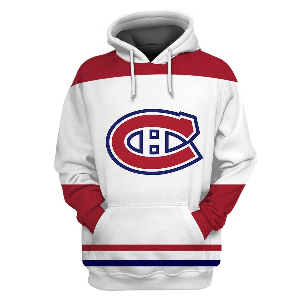 Canadiens White All Stitched Hooded Sweatshirt