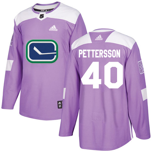 Canucks #40 Elias Pettersson Purple Authentic Fights Cancer Stitched Hockey Jersey