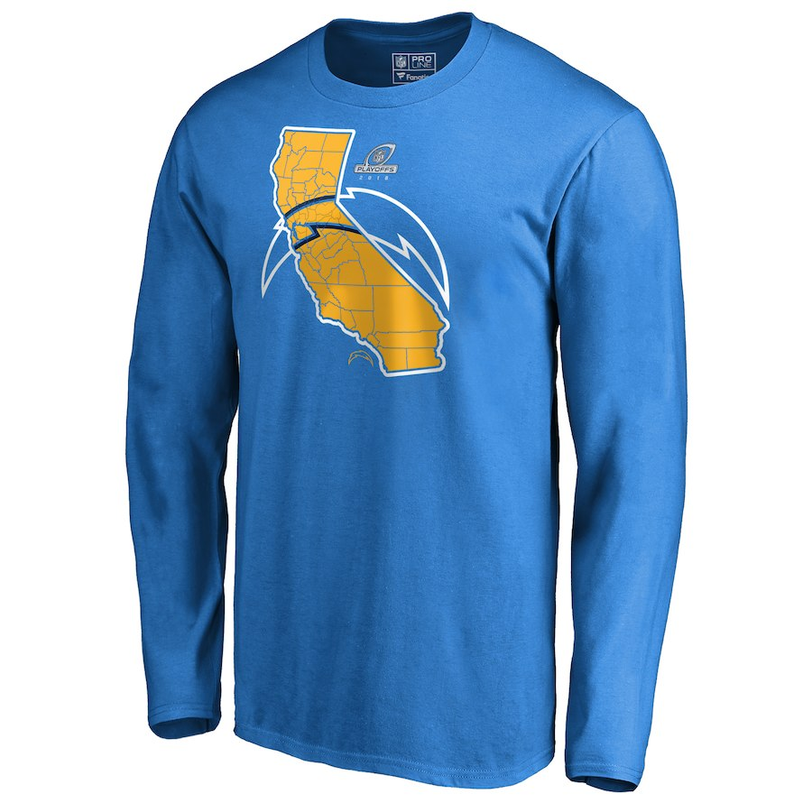 Chargers Light Blue 2018 NFL Playoffs Men's Long Sleeve T-Shirt