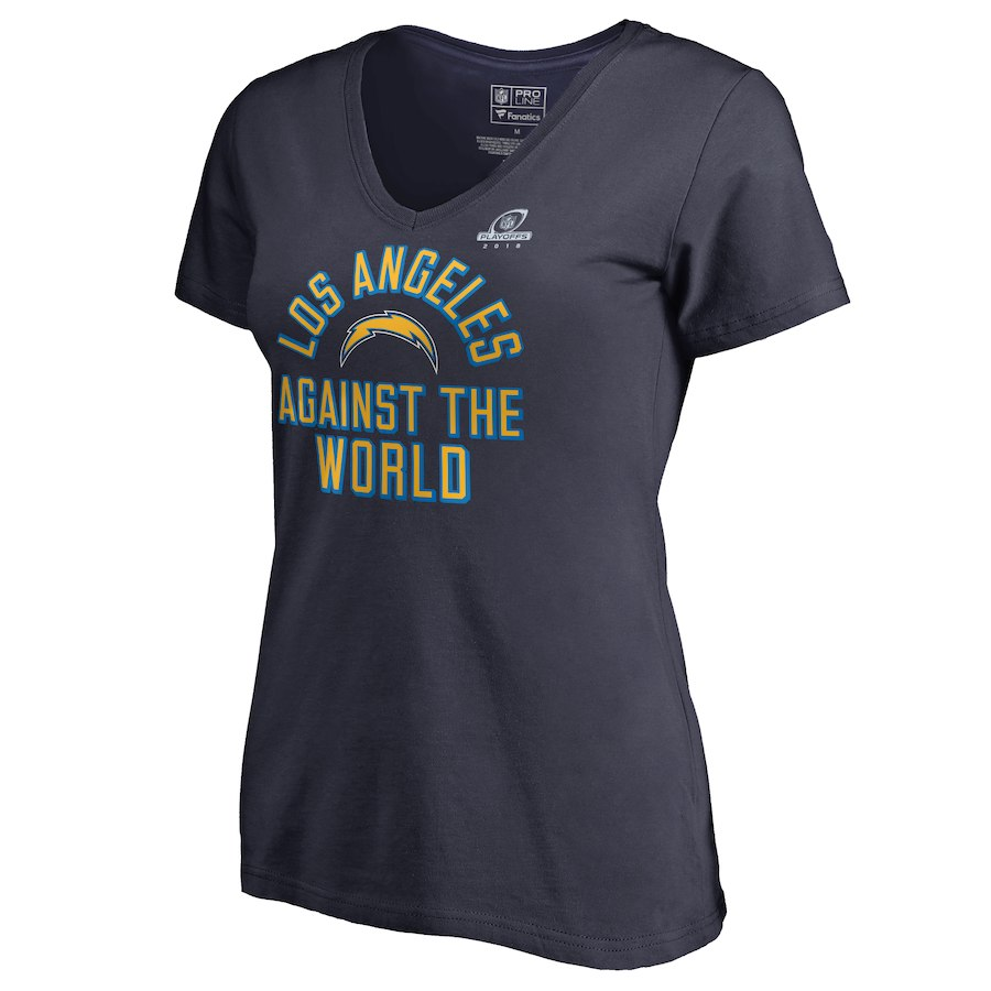 Chargers Navy Women's 2018 NFL Playoffs Against The World T-Shirt