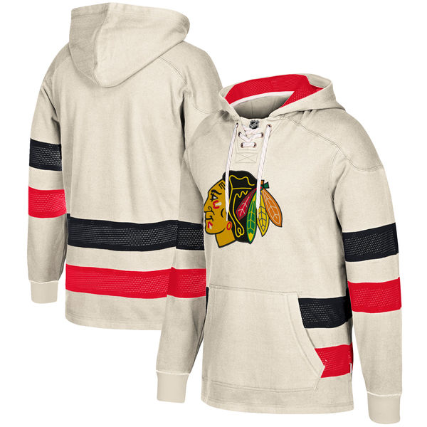 Chicago Blackhawks Cream Men's Customized All Stitched Hooded Sweatshirt