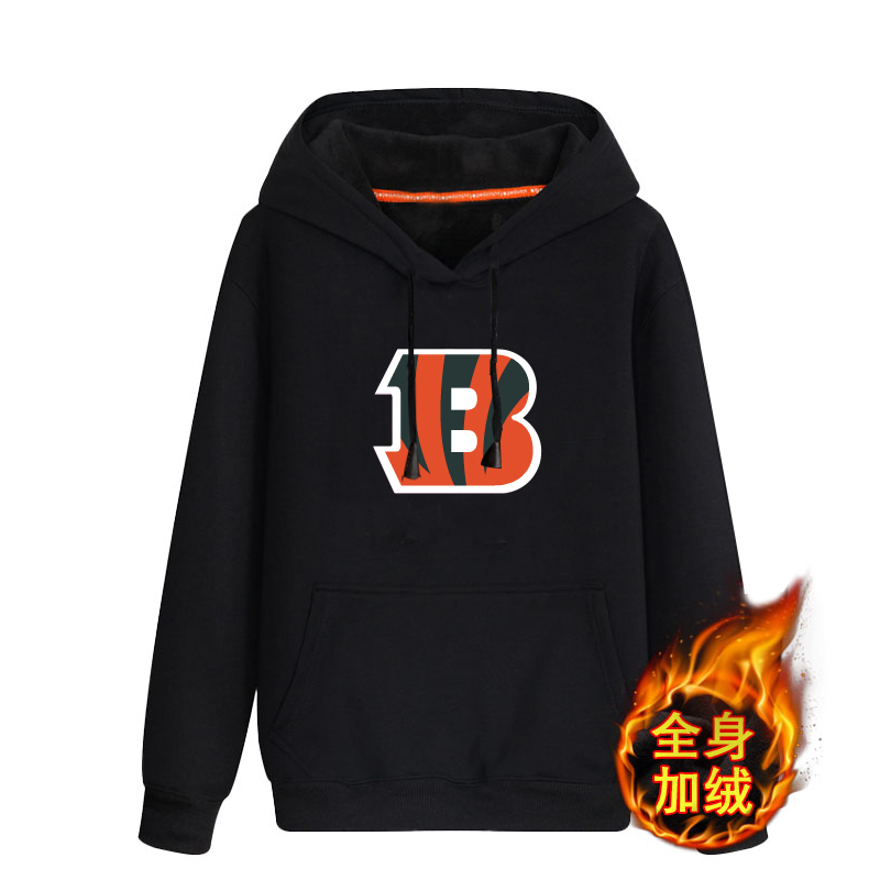 Cincinnati Bengals Black Men's Winter Thick NFL Pullover Hoodie