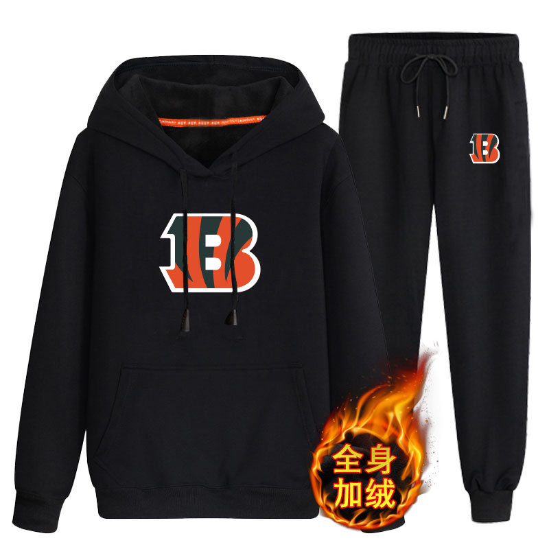Cincinnati Bengals Black Men's Winter Thicken NFL Pullover Hoodie & Pant