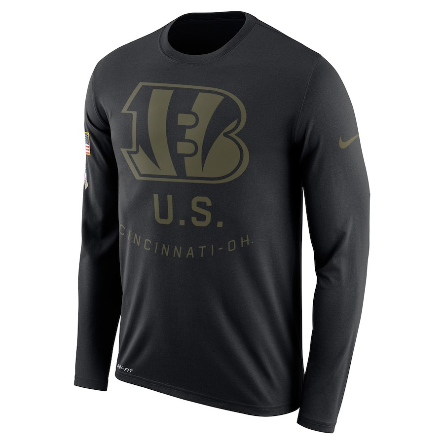 Cincinnati Bengals Nike Salute To Service Sideline Legend Performance Long Sleeve T-Shirt Black