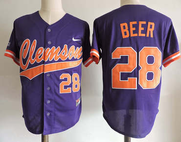 Clemson Tigers 28 Seth Beer Purple College Jersey