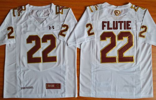 College Eagles #22 Doug Flutie White Authentic Performance Stitched