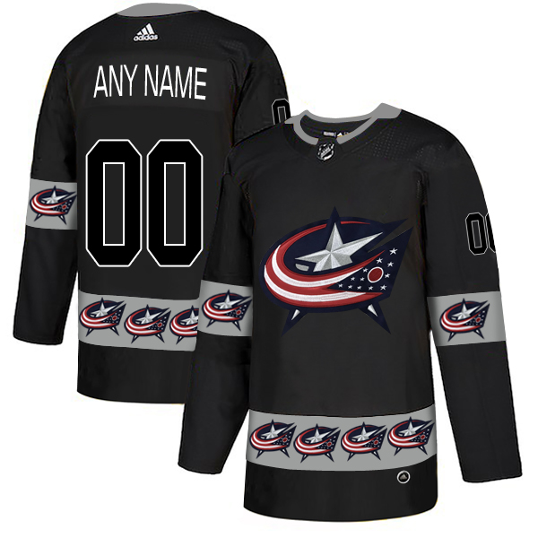 Columbus Blue Jackets Black Men's Customized Team Logos Fashion Adidas Jersey