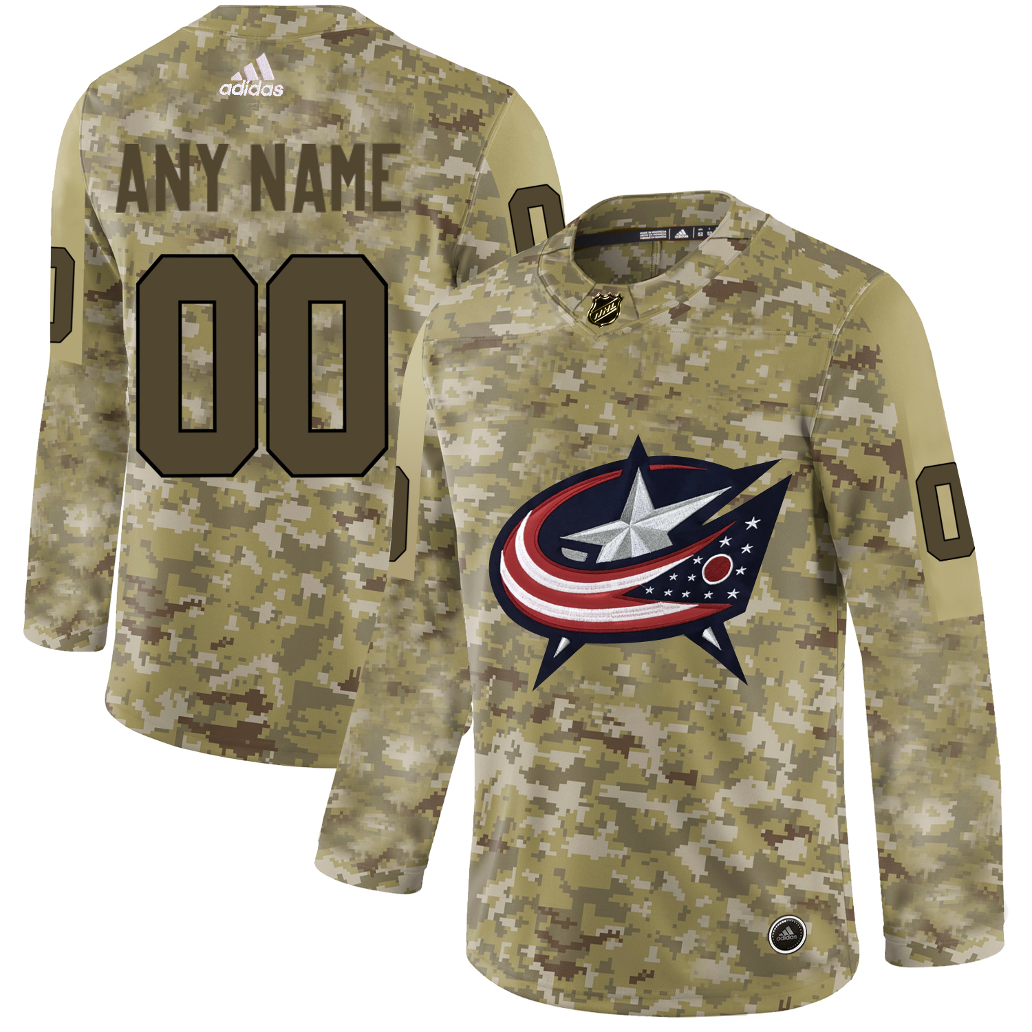 Columbus Blue Jackets Camo Men's Customized Adidas Jersey
