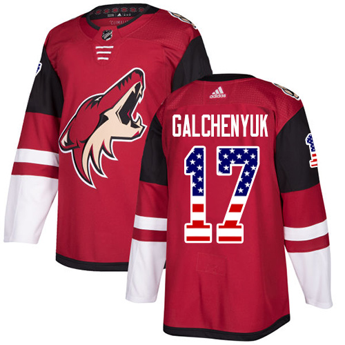 Coyotes #17 Alex Galchenyuk Maroon Home Authentic USA Flag Stitched Hockey Jersey