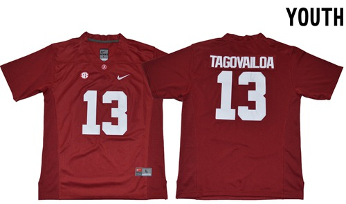 Crimson Tide #13 Tua Tagovailoa Red Limited Stitched Youth NCAA Jersey