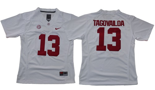 Crimson Tide #13 Tua Tagovailoa White Limited Women's Stitched NCAA Jersey