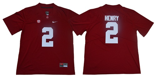 Crimson Tide #2 Derrick Henry Red SEC Patch Limited Stitched College Jersey