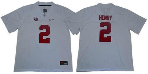 Crimson Tide #2 Derrick Henry White SEC Patch Limited Stitched College Jersey