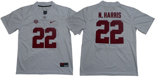 Crimson Tide #22 Najee Harris White Limited Stitched NCAA Jersey