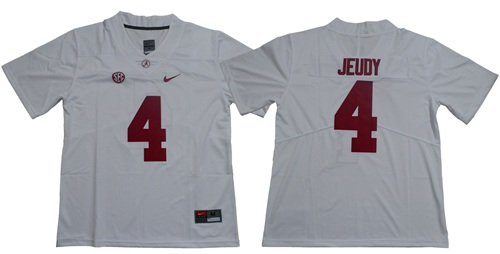 Crimson Tide #4 Jerry Jeudy White Limited Stitched NCAA Jersey