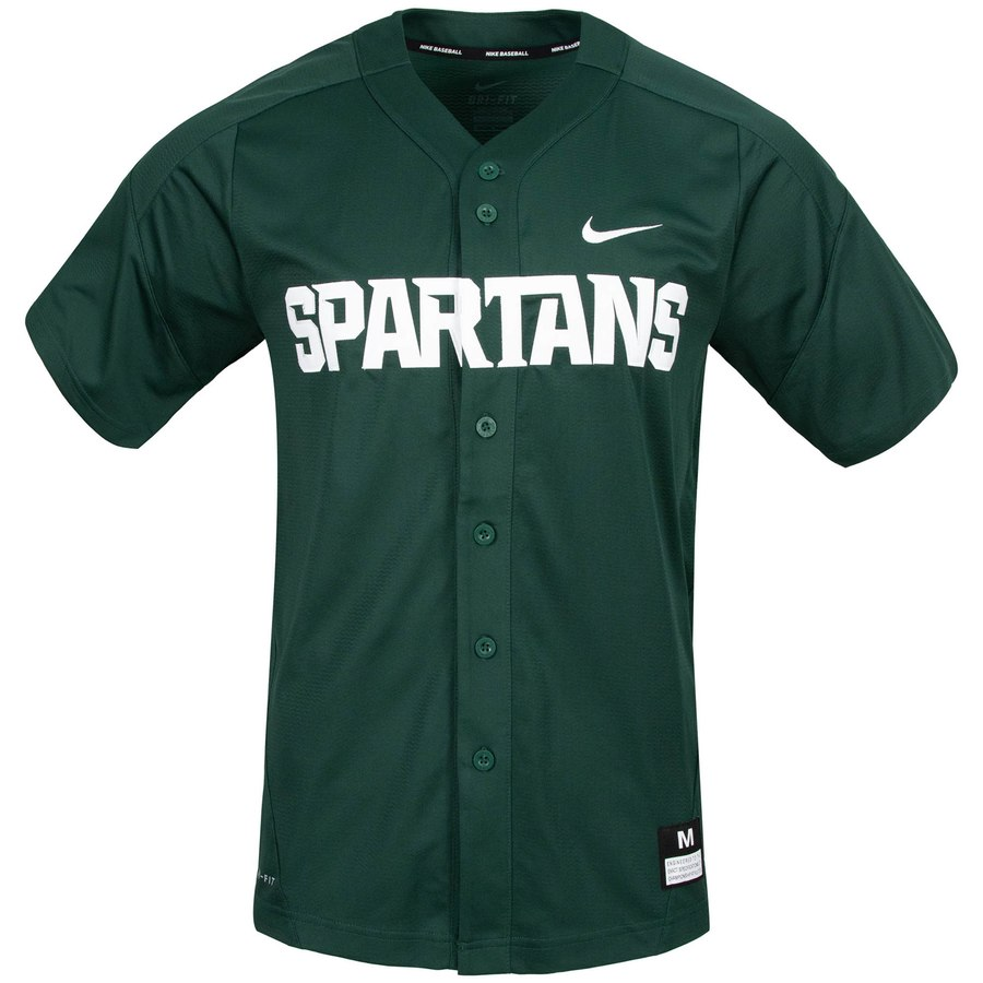 Custom Michigan State Spartans Green College Baseball Jersey