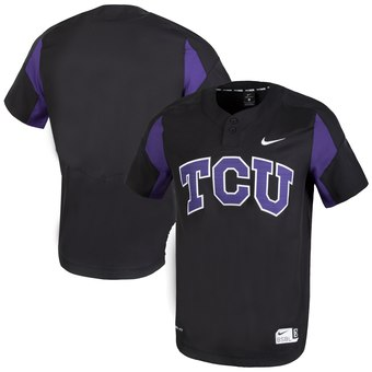 Custom TCU Horned Frogs Black Two-Button College Baseball Jersey