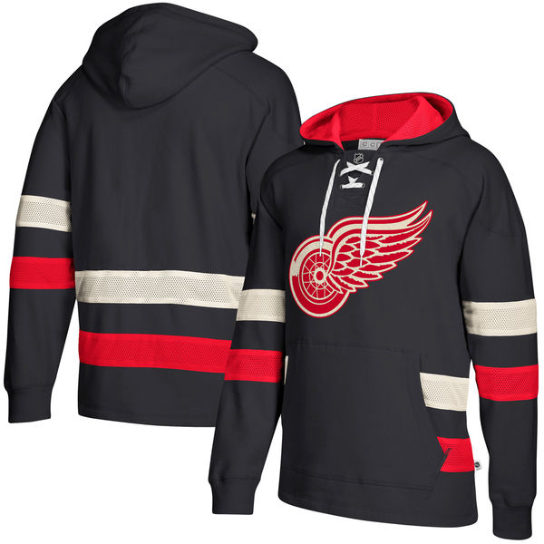 Detroit Red Wings Navy Men's Customized All Stitched Hooded Sweatshirt