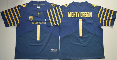 Ducks #1 Mighty Oregon Navy Blue Webfoots 100th Rose Bowl Game Elite Stitched NCAA Jersey