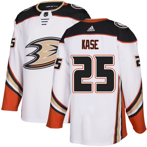 Ducks #25 Ondrej Kase White Road Authentic Stitched Hockey Jersey
