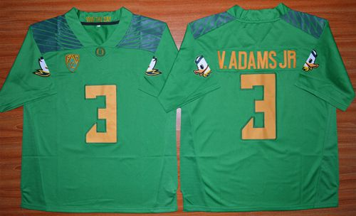 Ducks #3 Vernon Adams Jr. Green Stitched NCAA Jersey