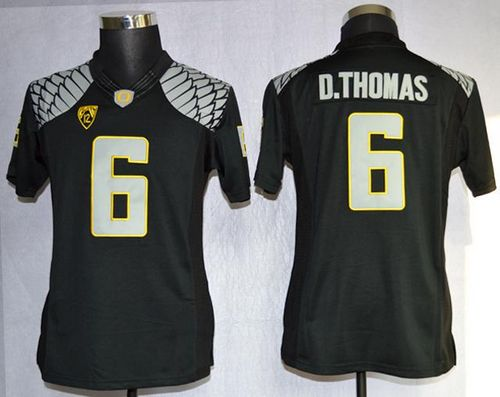 Ducks #6 De'Anthony Thomas Black Women's Limited Stitched NCAA Jersey