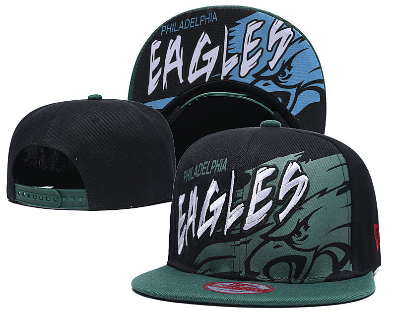 Eagles Team Logo Black Green Adjustable Hat TX