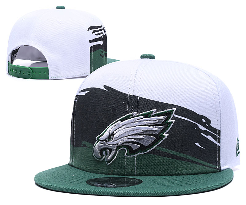 Eagles Team Logo White Green Black Adjustable Hat GS