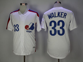 Expos 33 Larry Walker White 1982 Throwback Jersey