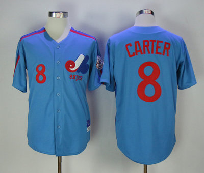 Expos 8 Gary Carter Blue Throwback Jersey