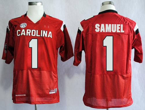 Fighting Gamecocks #1 Deebo Samuel Red SEC Patch Stitched NCAA Jersey