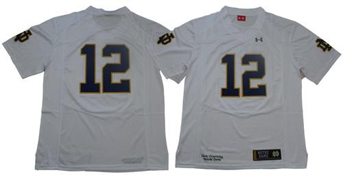 Fighting Irish #12 Ian Book White Limited Stitched NCAA Jersey