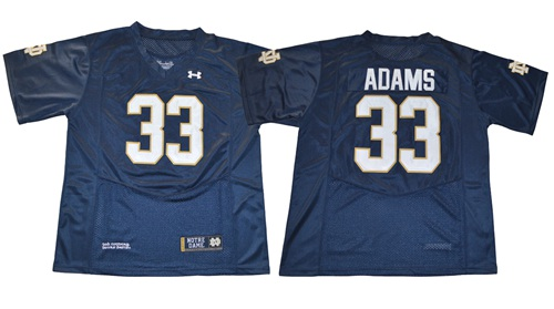 Fighting Irish #33 Josh Adams Navy Blue Under Armour Stitched NCAA Jersey