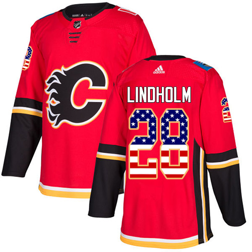 Flames #28 Elias Lindholm Red Home Authentic USA Flag Stitched Hockey Jersey