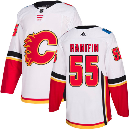 Flames #55 Noah Hanifin White Road Authentic Stitched Hockey Jersey