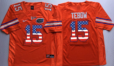 Florida Gators 15 Tim Tebow Orange USA Flag College Jersey