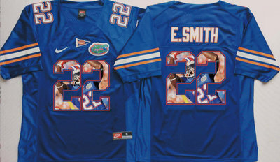 Florida Gators 22 Emmitt Smith Blue Portrait Number College Jersey