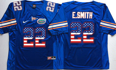 Florida Gators 22 Emmitt Smith Blue USA Flag College Jersey
