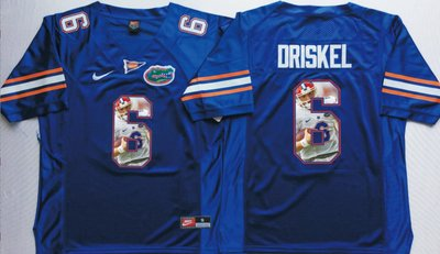 Florida Gators 6 Jeff Driskel Blue Portrait Number College Jersey