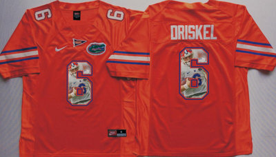 Florida Gators 6 Jeff Driskel Orange Portrait Number College Jersey