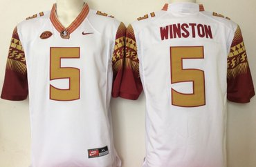 Florida State Seminoles (FSU) 5 Jameis Winston White College Football Jersey