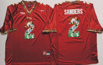 Florida State Seminoles 2 Deion Sanders Red Portrait Number College Jersey
