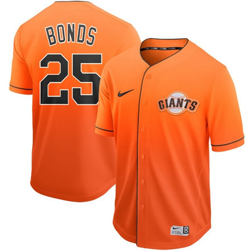 Giants #25 Barry Bonds Orange Fade Authentic Stitched Baseball jerseys