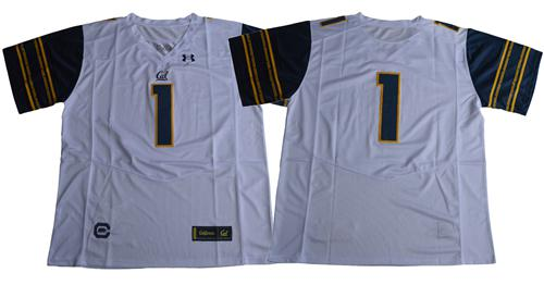 Golden Bears No.1 Fans White Under Armour Premier Stitched NCAA Jersey
