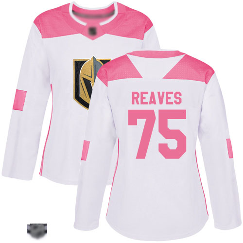 Golden Knights #75 Ryan Reaves White Pink Authentic Fashion Women's Stitched Hockey Jersey