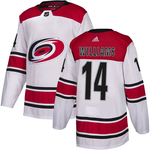 Hurricanes #14 Justin Williams White Road Authentic Stitched Hockey Jersey