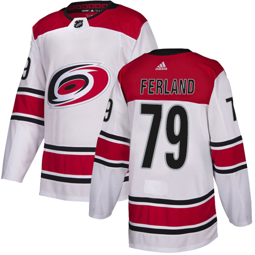 Hurricanes #79 Michael Ferland White Road Authentic Stitched Hockey Jersey