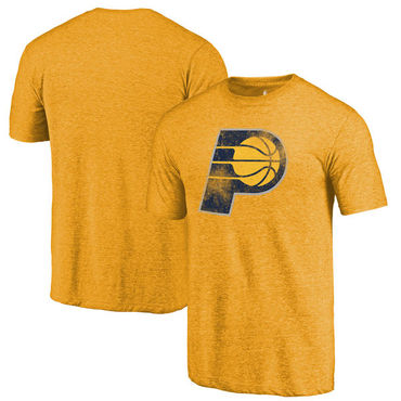 Indiana Pacers Fanatics Branded Gold Distressed Logo Tri-Blend T-Shirt