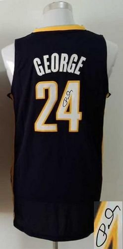 Indiana Pacers Revolution 30 Autographed #24 Paul George Navy Blue Stitched NBA Jersey