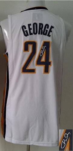 Indiana Pacers Revolution 30 Autographed #24 Paul George Navy White Stitched NBA Jersey